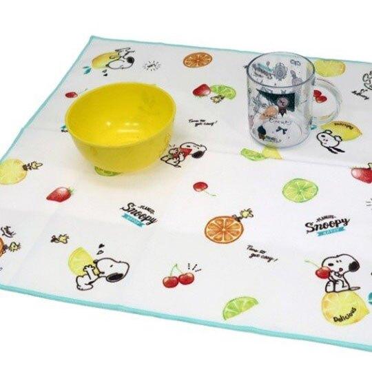 〔小禮堂〕史努比 棉質便當包巾《白綠.檸檬》43x43cm.手帕.餐巾.桌巾