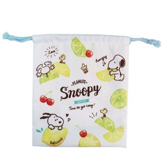 〔小禮堂〕史努比 棉質束口袋《白綠.檸檬》18x21cm.縮口袋.收納袋