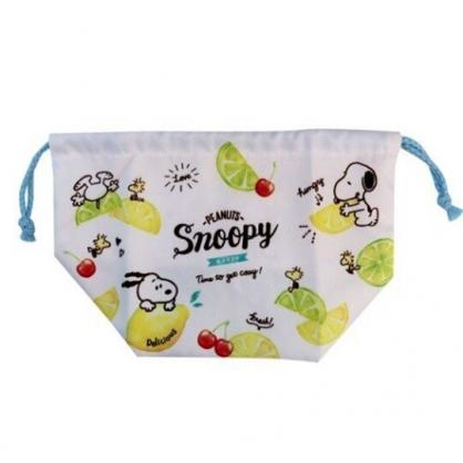 〔小禮堂〕史努比 棉質束口便當袋《白綠.檸檬》手提袋.縮口袋.收納袋