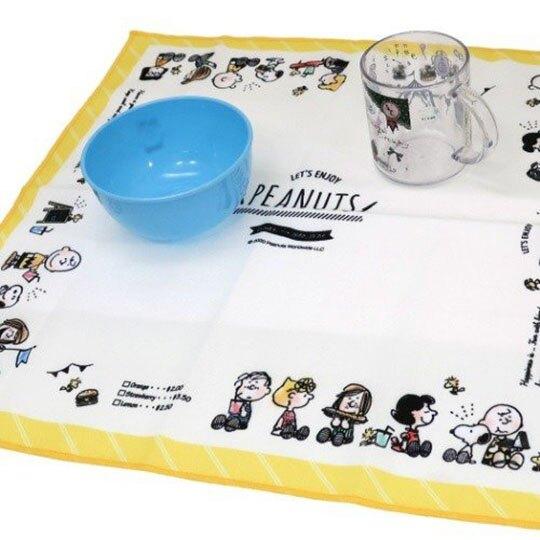 〔小禮堂〕史努比 棉質便當包巾《白黃.排坐》43x43cm.手帕.餐巾.桌巾