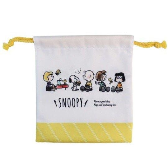 〔小禮堂〕史努比 棉質束口袋《白黃.排坐》18x21cm.縮口袋.收納袋