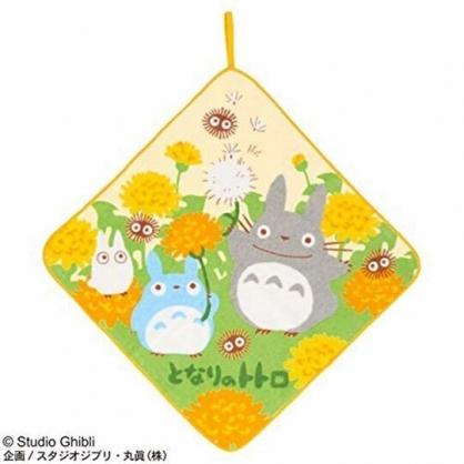 〔小禮堂〕宮崎駿Totoro龍貓 可掛式純棉割絨擦手巾《綠橘.拿花朵》33x33cm.毛巾