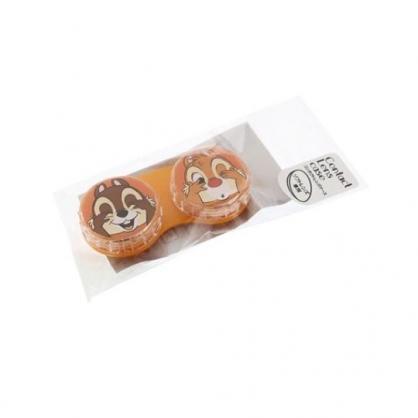 〔小禮堂〕迪士尼 奇奇蒂蒂 日製圓形塑膠連接盒《橘.大臉》置物盒.藥盒