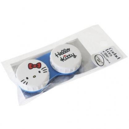 〔小禮堂〕Hello Kitty 日製圓形塑膠連接盒《白.大臉》置物盒.藥盒