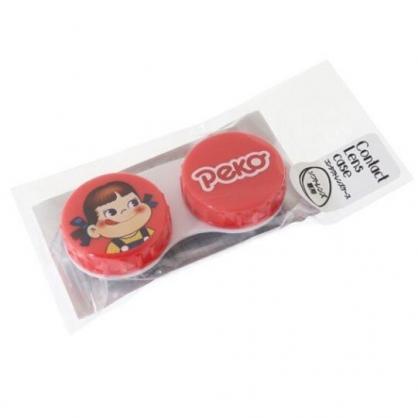 〔小禮堂〕不二家PEKO 日製圓形塑膠連接盒《紅.大臉》置物盒.藥盒