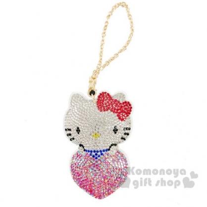 〔小禮堂〕Hello Kitty 大臉愛心造型麂皮水鑽吊飾《白》掛飾.鑰匙圈.鎖圈