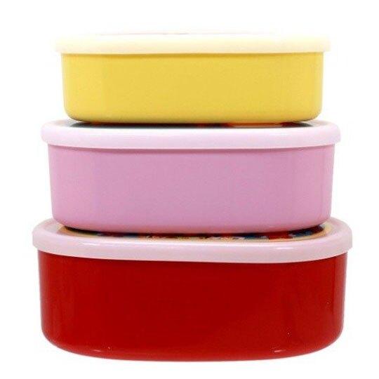 〔小禮堂〕迪士尼 玩具總動員 日製橢圓形保鮮盒組《3入.紅.圍繞》便當盒.食物盒.餐盒