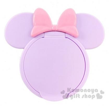 〔小禮堂〕迪士尼 米妮 日製大臉造型塑膠濕紙巾蓋《紫》濕巾盒蓋.密封蓋