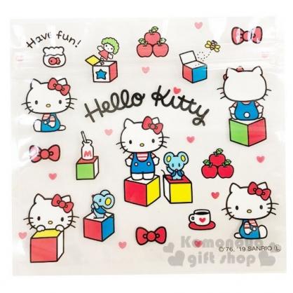 〔小禮堂〕Hello Kitty 方形透明夾鏈袋組《M.4入.白》分類袋.糖果袋.銅板小物