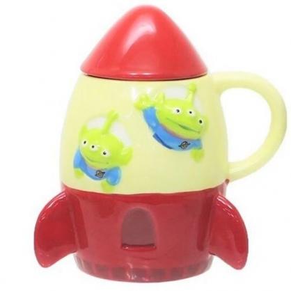 〔小禮堂〕迪士尼 三眼怪 火箭造型陶瓷馬克杯附蓋《米紅》咖啡杯.茶杯