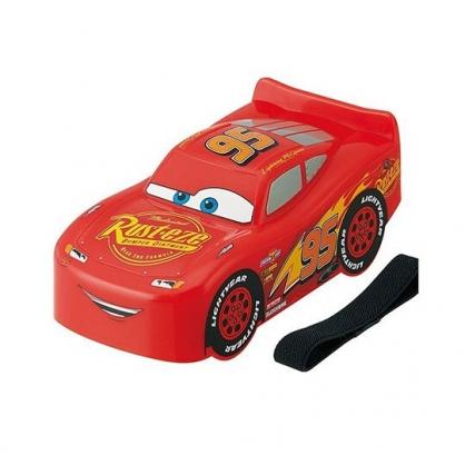 〔小禮堂〕迪士尼 閃電麥坤 日製汽車造型便當盒附束帶《紅》310ml.保鮮盒.餐盒