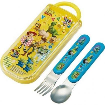 〔小禮堂〕迪士尼 玩具總動員 日製滑蓋兩件式餐具組《黃綠.派對旗》叉匙.環保餐具.兒童餐具