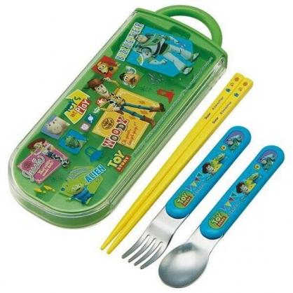 〔小禮堂〕迪士尼 玩具總動員 日製滑蓋三件式餐具組《綠黃.格圖》叉匙.匙筷.環保餐具.兒童餐具