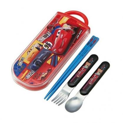 〔小禮堂〕迪士尼 閃電麥坤 日製滑蓋三件式餐具組《紅黃.格圖》叉匙.匙筷.環保餐具.兒童餐具