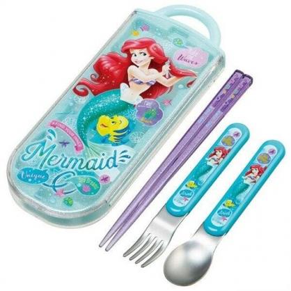 〔小禮堂〕迪士尼 小美人魚 日製滑蓋三件式餐具組《綠黃.梳頭髮》叉匙.匙筷.環保餐具.兒童餐具