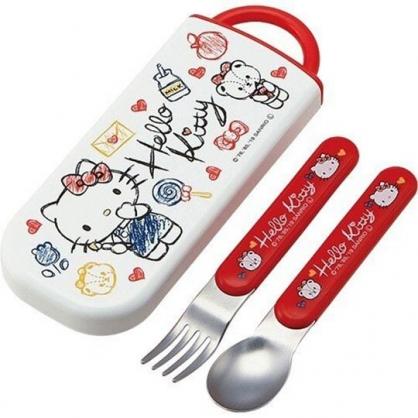 〔小禮堂〕Hello Kitty 日製滑蓋兩件式餐具組《紅白.塗鴉風》叉匙.環保餐具.兒童餐具