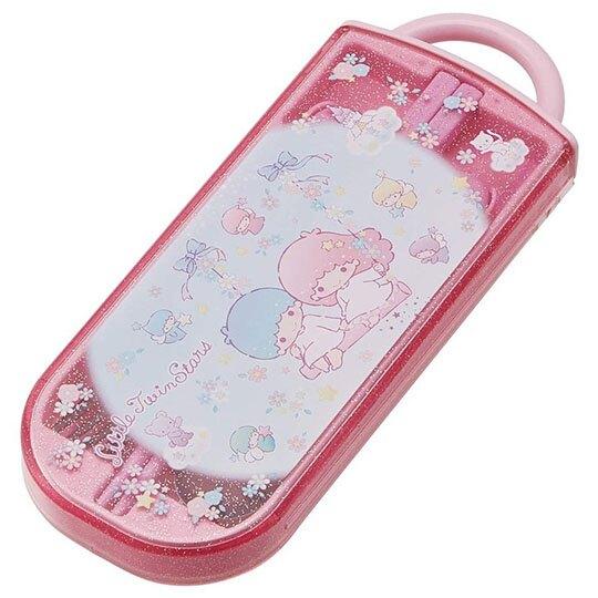 〔小禮堂〕雙子星 日製滑蓋三件式餐具組《粉藍.盪鞦韆》叉匙.匙筷.環保餐具.兒童餐具