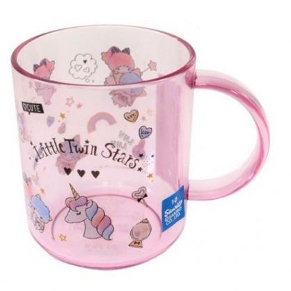 〔小禮堂〕雙子星 日製單耳透明塑膠小水杯《紫.獨角獸》250ml.漱口杯.塑膠杯