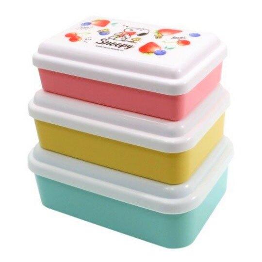 〔小禮堂〕史努比 日製方形保鮮盒組《3入.白綠.檸檬》便當盒.食物盒.餐盒