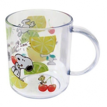 〔小禮堂〕史努比 日製單耳透明塑膠小水杯《綠.檸檬》250ml.漱口杯.塑膠杯