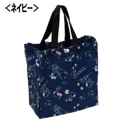 〔小禮堂〕史努比 折疊尼龍環保購物袋《深藍.拿掃把》手提袋.環保袋