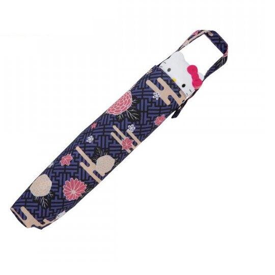 〔小禮堂〕Hello Kitty 抗UV頭型柄折疊雨陽傘《紫.花朵》折傘.雨傘.雨具