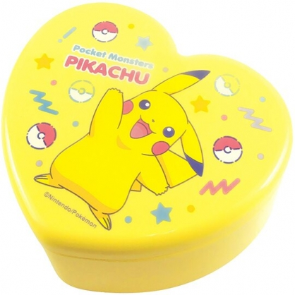 〔小禮堂〕神奇寶貝Pokemon皮卡丘 愛心造型塑膠掀蓋收納盒附鏡《黃.招手》飾品盒.珠寶盒