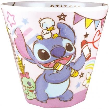 〔小禮堂〕迪士尼 史迪奇 日製無把美耐皿小水杯《紫.拿蠟筆》270ml.漱口杯.茶杯