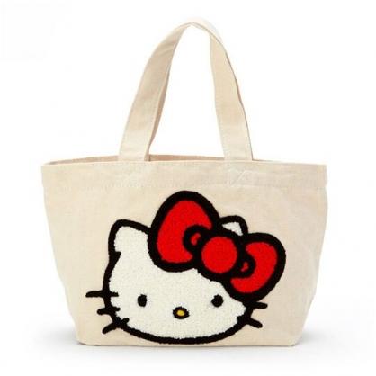 〔小禮堂〕Hello Kitty 刺繡布章帆布手提袋《米紅.大臉》外出袋.便當袋
