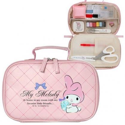 〔小禮堂〕美樂蒂 日製針線用品盒附收納包《粉白.拿花圈》縫紉用品.針線包