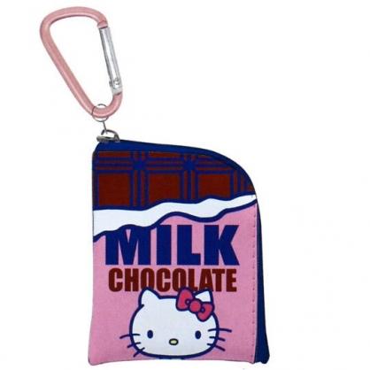 〔小禮堂〕Hello Kitty 迷你方形皮質拉鍊零錢包《桃棕.巧克力》掛飾.收納包.耳機包