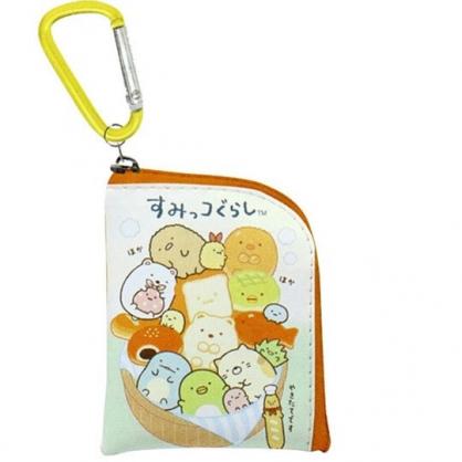 〔小禮堂〕角落生物 迷你方形皮質拉鍊零錢包《綠棕.麵包》掛飾.收納包.耳機包