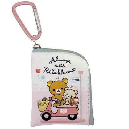 〔小禮堂〕懶懶熊 拉拉熊 迷你方形皮質拉鍊零錢包《粉黃.騎車》掛飾.收納包.耳機包