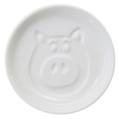 〔小禮堂〕迪士尼 玩具總動員 培根豬 迷你陶瓷圓盤《白.大臉》小菜碟.醬料碟