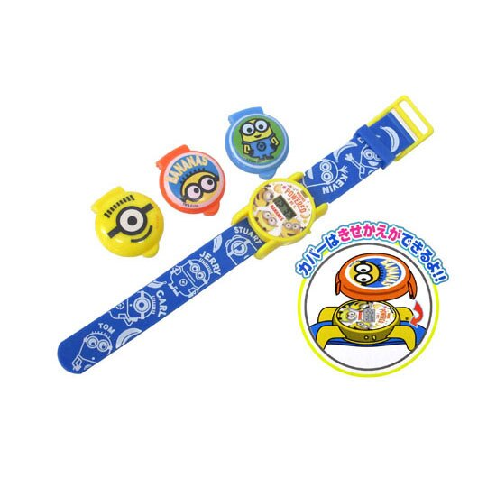 〔小禮堂〕小小兵 可換蓋矽膠錶帶兒童手錶《黃藍.大臉》休閒錶.腕錶.電子錶