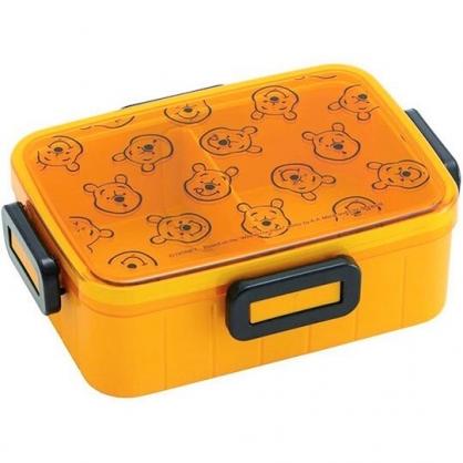 〔小禮堂〕迪士尼 小熊維尼 日製方形四面扣便當盒《黃.大臉滿版》650ml.保鮮盒.食物盒.餐盒