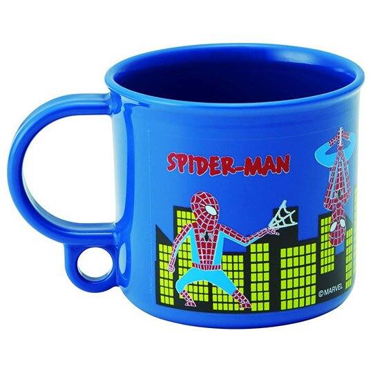 〔小禮堂〕漫威英雄Marvel 蜘蛛人 日製單耳塑膠小水杯《藍紅.大樓》200ml.漱口杯.塑膠杯