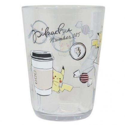 〔小禮堂〕神奇寶貝Pokemon皮卡丘 日製無把透明塑膠小水杯《黑.飲料杯》370ml.漱口杯.茶杯