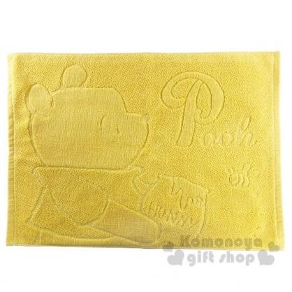 〔小禮堂〕迪士尼 小熊維尼 毛巾腳踏墊《黃.側身》45x60cm.浴墊.地墊