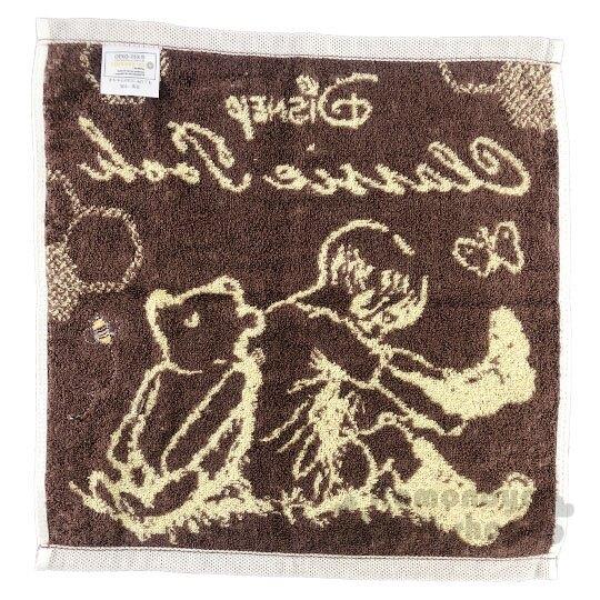 〔小禮堂〕迪士尼 小熊維尼 純棉無捻紗方形毛巾《黃棕.背對背》34x35cm.方巾