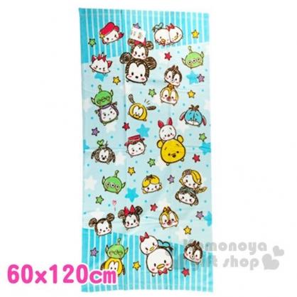 〔小禮堂〕迪士尼 TsumTsum 純棉割絨大浴巾《藍白.星星》60x120cm.毛巾
