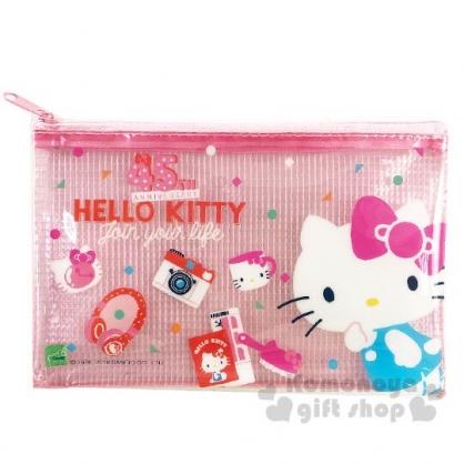 〔小禮堂〕Hello Kitty 防水網格扁平拉鍊收納包《粉白.45週年》文件袋.筆袋