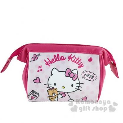 〔小禮堂〕Hello Kitty 硬式支架皮質拉鍊化妝包《粉白.小熊》萬用包.收納包.筆袋