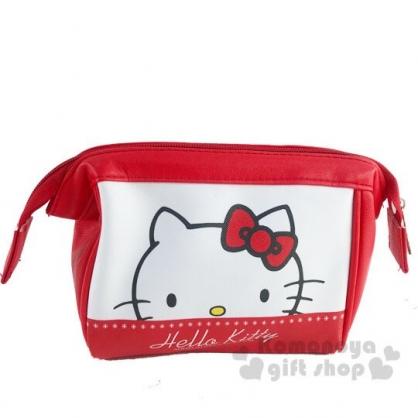 〔小禮堂〕Hello Kitty 硬式支架皮質拉鍊化妝包《紅白.大臉》萬用包.收納包.筆袋