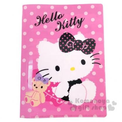〔小禮堂〕Hello Kitty 雙開式票據收納夾《粉.點點》資料夾.檔案夾.文件夾