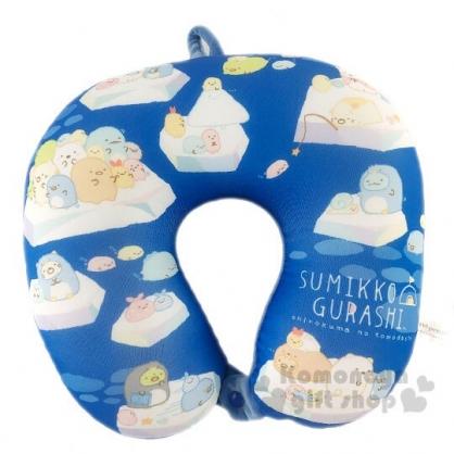 〔小禮堂〕角落生物 尼龍扣式U型頸枕《藍白.冰原》靠枕.午安枕