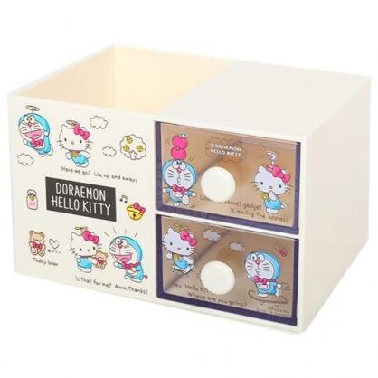 〔小禮堂〕Hello Kitty x 哆啦A夢 桌上型雙抽筆筒收納盒《米》刷具筒.飾品盒