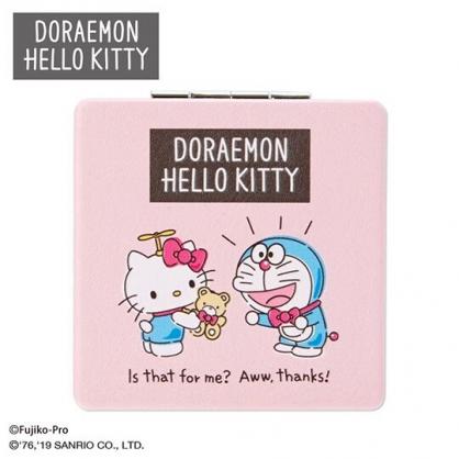 〔小禮堂〕Hello Kitty x 哆啦A夢 皮質方形隨身雙面鏡《粉》放大鏡.折鏡.鏡子