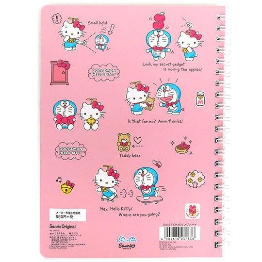 〔小禮堂〕Hello Kitty x 哆啦A夢 日製左翻線圈橫線筆記本《粉》記事本.手札.日記本