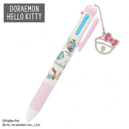〔小禮堂〕Hello Kitty x 哆啦A夢 日製造型多色原子筆自動鉛筆《粉米》0.5mm.多色筆.三色筆